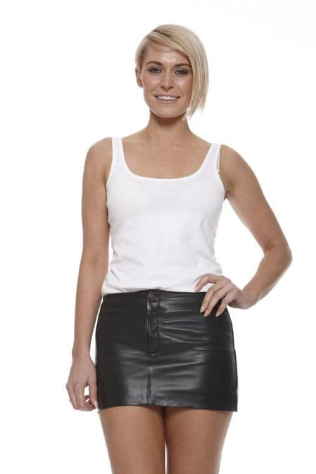 Womens Leather Mini Skirt in Black